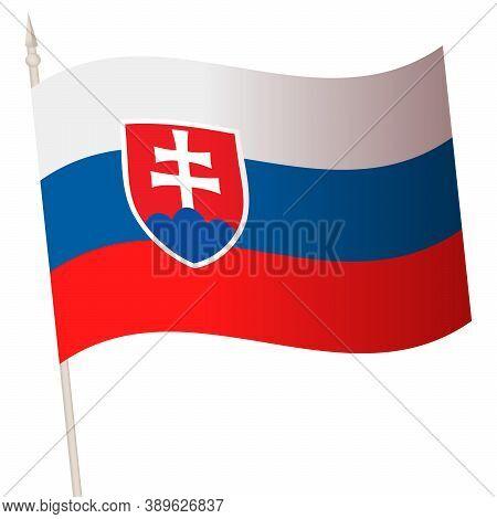 Vector Waving Flag On A Flagpole. The National Flag Of Slovakia.