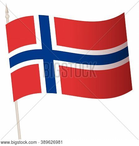 Vector Waving Flag On A Flagpole. The National Flag Of Norway
