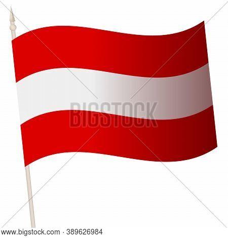 Vector Waving Flag On A Flagpole. The National Flag Of Austria.