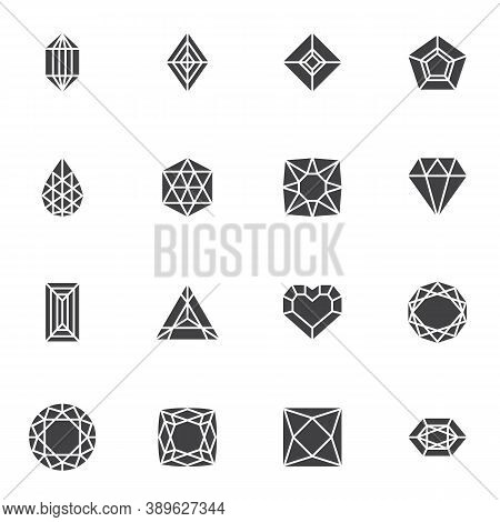 Diamond And Precious Stones Vector Icons Set, Modern Solid Symbol Collection, Filled Style Pictogram