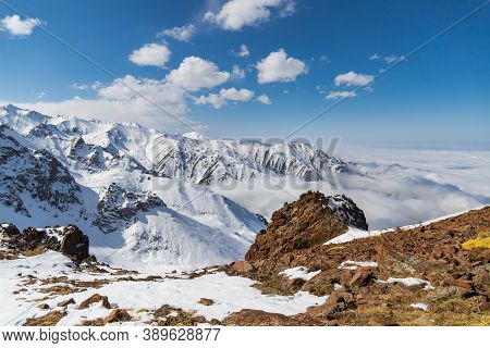 High Mountains With Rocks And Ice In Tian Shan Mountain Area In Central Asia Near Almaty City.