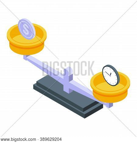 Time Money Comparison Icon. Isometric Of Time Money Comparison Vector Icon For Web Design Isolated O