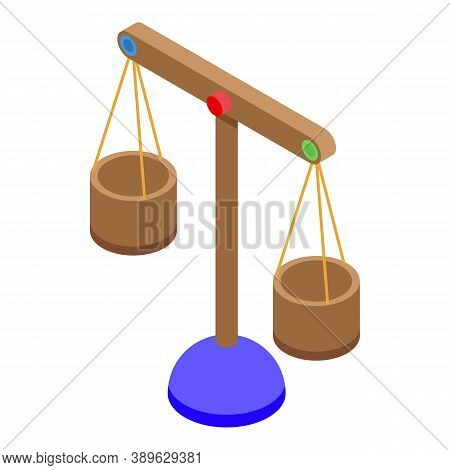 Wood Scales Comparison Icon. Isometric Of Wood Scales Comparison Vector Icon For Web Design Isolated