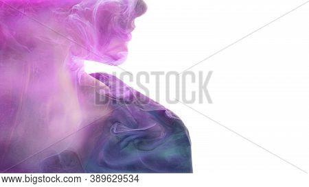Art Portrait. Aesthetic Cosmetology. Ethereal Energy. Soul Chakra. Double Exposure Glitter Neon Glow
