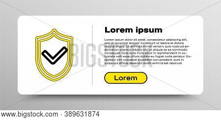 Line Shield With Check Mark Icon Isolated On White Background. Protection Symbol. Security Check Ico