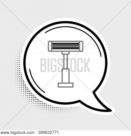 Line Electric Heater Icon Isolated On Grey Background. Infrared Floor Heater With Remote Control. Ho
