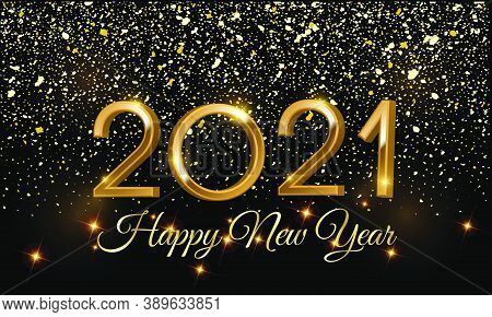 Happy New Year 2021 3d Golden Vector Illustration On Black Background - 2021 3d Golden Vector Illust