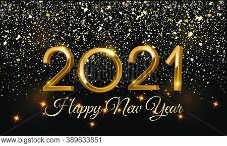 Happy New Year 2021 3d Golden Vector Illustration On Black Background - 2021 3d Golden Vector Illust