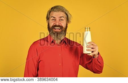 Happy Farmer Present Milk Glass. Bearded Man Drink Useful Milk. Milk In A Jug And A Cup. Fresh Dairy