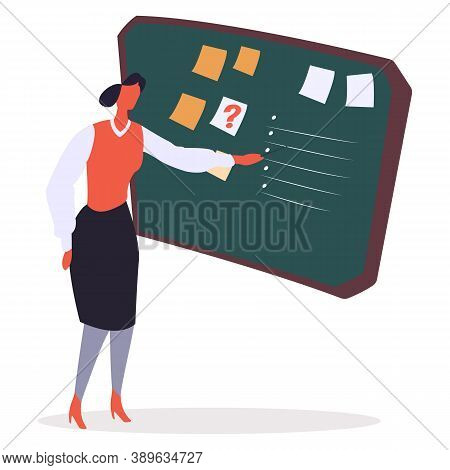 Businesswoman Making Appointments And Giving Tasks Vector. Flat Style Character With Presentation On