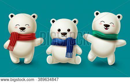 Winter Bears Character Vector Set. Teddy Bear Or Polar Bear 3d Cartoon Characters Collection Wearing