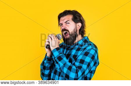 Vocal Exercise. Music. Mature Man Sing A Song. Vocal Classes. Style Of Music. Bearded Man Sing In Mi