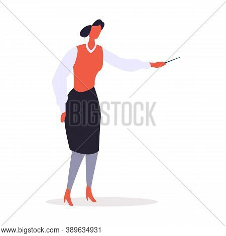 Businesslady Pointing With Pen Vector. Director Wearing Skirt And Blouse, Formal Clothes Of Female C