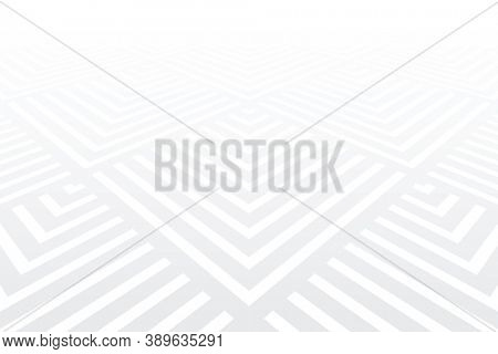 Geometric pattern. White textured background. Diminishing perspective view.