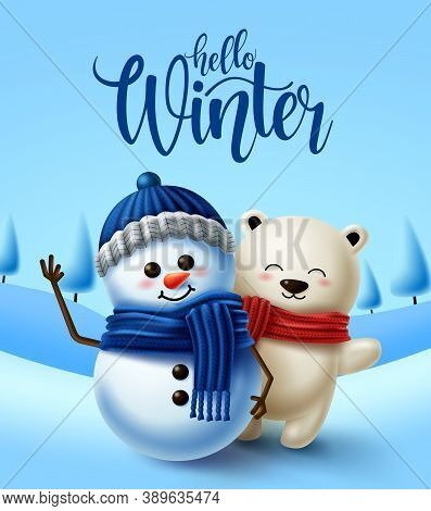 Winter Character Vector Background Design. Hello Winter Greeting Text With 3d Snowman And Polar Bear