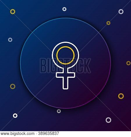 Line Female Gender Symbol Icon Isolated On Blue Background. Venus Symbol. The Symbol For A Female Or