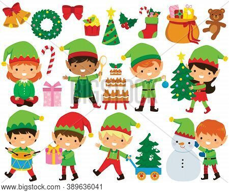 Christmas Elves Clipart Set. Cute Santa\'s Elves In Different Poses And A Collection Of Christmas Il