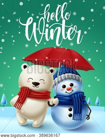 Winter Character Vector Background Design. Hello Winter Text In Snowy Winter Background With 3d Pola