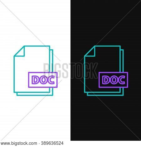 Line Doc File Document. Download Doc Button Icon Isolated On White And Black Background. Doc File Ex