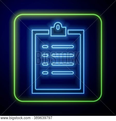 Glowing Neon Clipboard With Checklist Icon Isolated On Blue Background. Control List Symbol. Survey