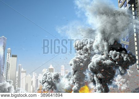 Large Smoke Column And Fire In The Modern City, Concept Of Industrial Accident Or Act Of Terror On B