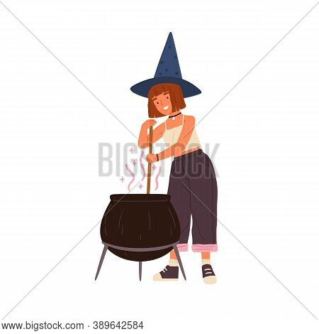 Cute Girl In Witch Hat Stirring Potion In Pot. Female Wizard Preparing Magical Potion. Young Happy M
