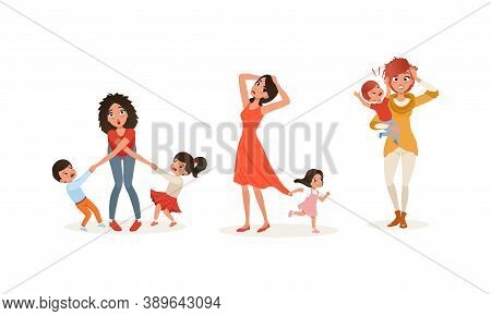 Tired Young Mother And Hyperactive Child Claiming Attention Vector Illustration Set