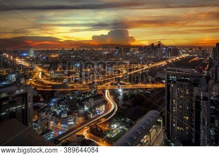 Light From Road And High Way In Bangkok City In Morning Sunrise Time, Thake Picture From Hotel Windo