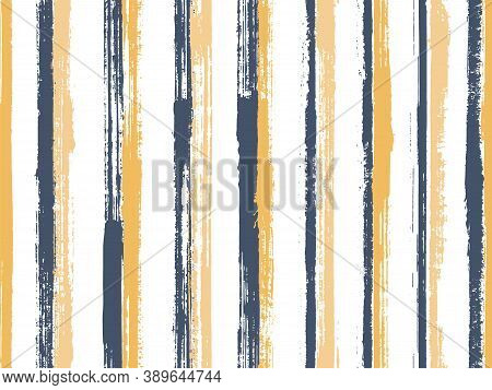 Ink Thin Parallel Lines Vector Seamless Pattern. Variegated Serape Ethnic Textile Design. Grainy Geo