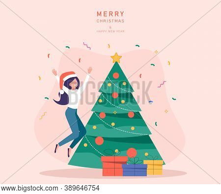 Characters decoration. Young beautiful woman decorate Christmas tree. Gifts under christmas tree. Merry Christmas card vector Illustration.Christmas. Christmas Vector. Christmas Background. Merry Christmas Vector. Merry Christmas banner. Christmas illustr