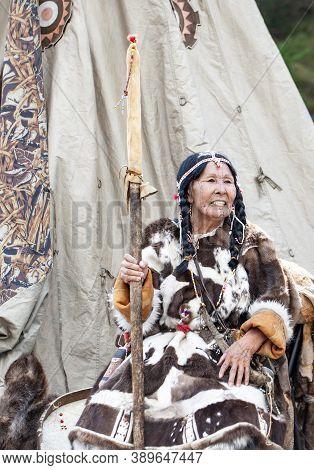 Petropavlovsk, Kamchatka, Russia - November 1, 2020: Kamchatka Aboriginal Koryak. Folk Ensemble Perf