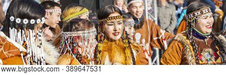 Petropavlovsk, Kamchatka, Russia - November 4, 2018: Selective Focus. Folk Ensemble Performance In D