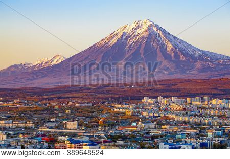 Panoramic View Of The City Petropavlovsk-kamchatsky And Volcanoes: Koryaksky Volcano, Avacha Volcano