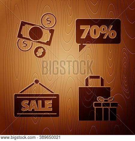 Set Gift Box, Money Cash And Coin, Hanging Sign With Sale And Seventy Discount Percent Tag On Wooden