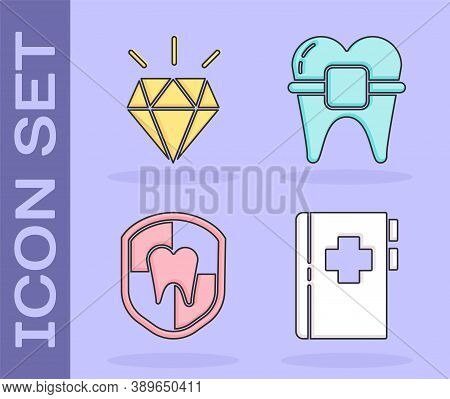 Set Clipboard With Dental Card, Diamond Teeth, Dental Protection And Teeth With Braces Icon. Vector