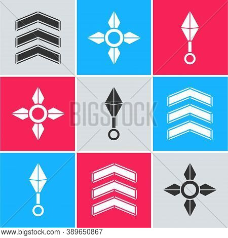 Set Military Rank, Japanese Ninja Shuriken And Japanese Ninja Shuriken Icon. Vector