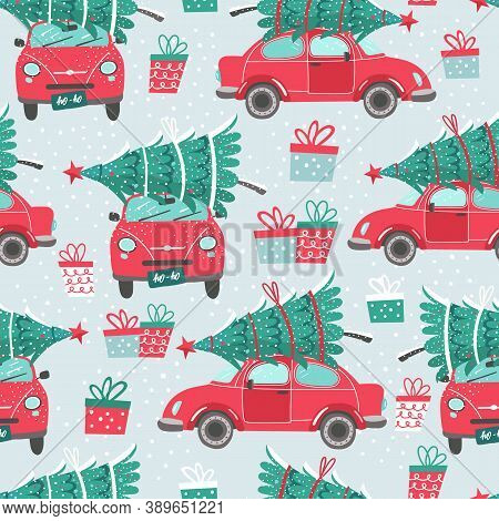 Vector Seamless Pattern With Red Car And Christmas Tree. Christmas Picture. Red Pickup. New Year Ill