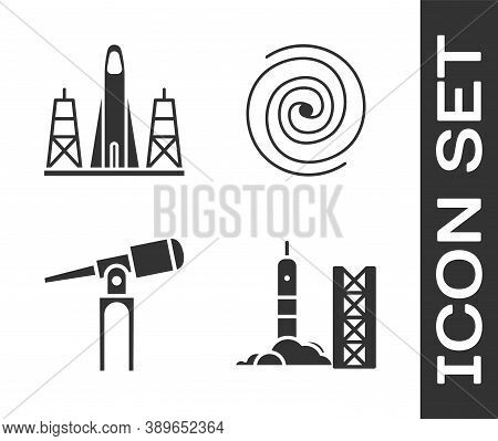 Set Rocket Launch From The Spaceport, Rocket Launch From The Spaceport, Telescope And Black Hole Ico