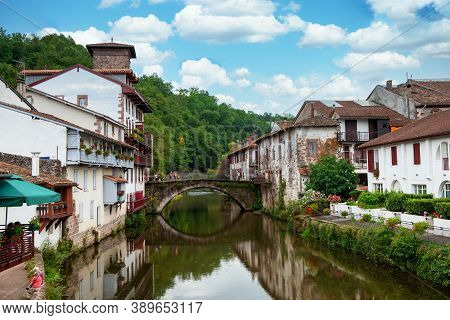 View Of Saint Jean Pied De Port City In The French Pyrenees