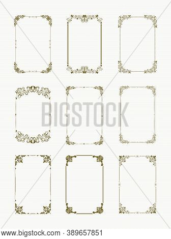 Set Of Decorative Vintage Frames And Borders Set. Vintage Calligraphic Frames. Ornate Calligraph Fra