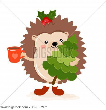 Adorable Hedgehog In Winter. Hand Drawn Vector Hedgehog Illustration With Chritmas Tree And Hot Coco