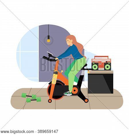Sport And Fitness Activities. Girl Riding Stationary Exercise Bike Flat Vector Illustration. Fitness