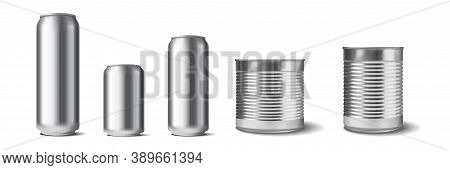 Realistic Aluminium Cans Set. Collection Of Realism Style Drawn Metal Containers Mockups For Drinks