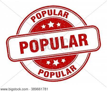 Popular Stamp. Popular Round Grunge Sign. Label