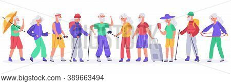 Elderly People. Crowd Of Active Senior Elderly People, Healthy Grandmother, Grandfather Recreation,