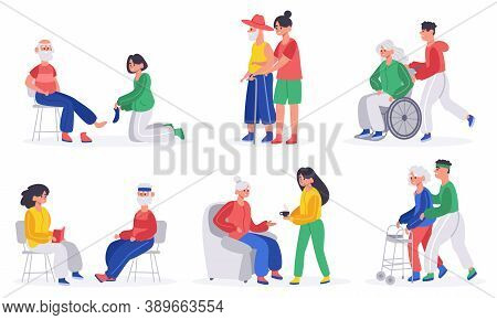 Elderly People Caring. Volunteers, Social Workers Or Relatives Helps Elderly People, Nurse Caring Se