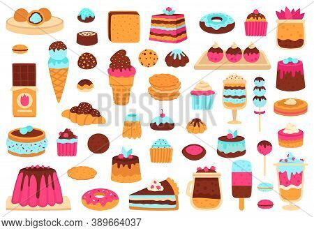 Sweet Desserts. Bakery Sweets, Muffin Cakes, Ice Cream, Hand Drawn Candies, Chocolate Bar And Macaro