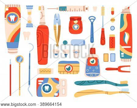 Dental Care Tools. Oral Hygiene Products And Cleaning Tools, Toothbrush, Toothpaste, Dental Floss, M