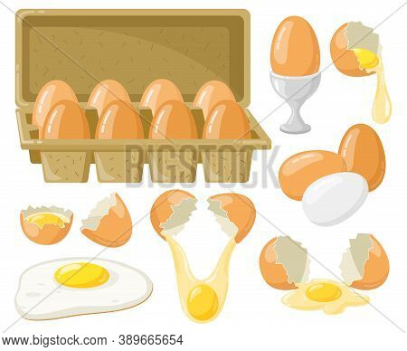 Cartoon Chicken Eggs. Fresh, Boiled, Fried Eggs, Broken Eggs, Half Egg With Yolk, Eggs In Cardboard