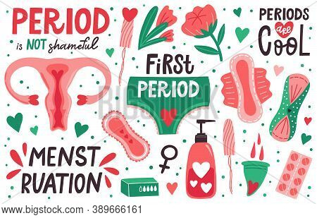 Menstruation Hygiene. Female Menstrual Cycle, Periods Hygiene, Menstrual Cup, Sanitary Pad, Tampons.
